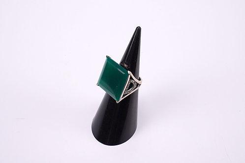 Anello argento e Agata verde