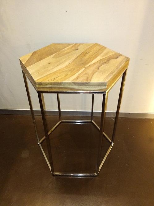 Tavolino esagonale in acciaio e Sheesham