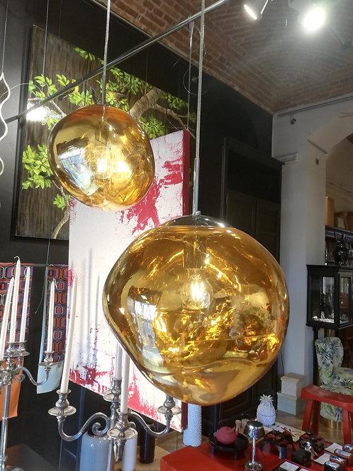 Sospensione in vetro oro trasparente cm 295
