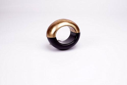 Monies - Bracciale ebano, foglia oro