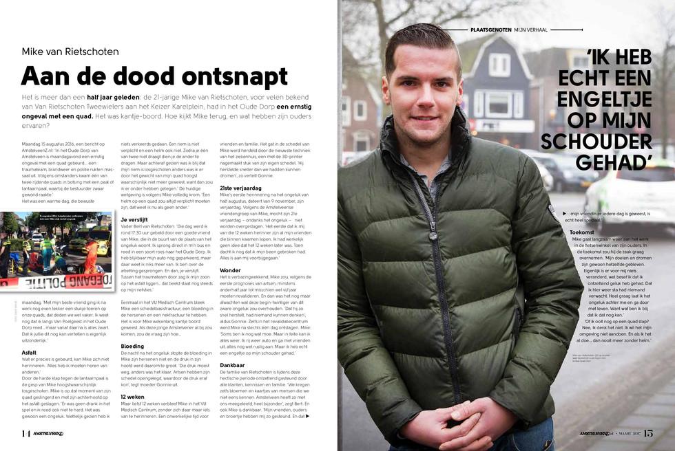 Aan de dood ontsnapt - AmstelveenZ Magazine maart 2017