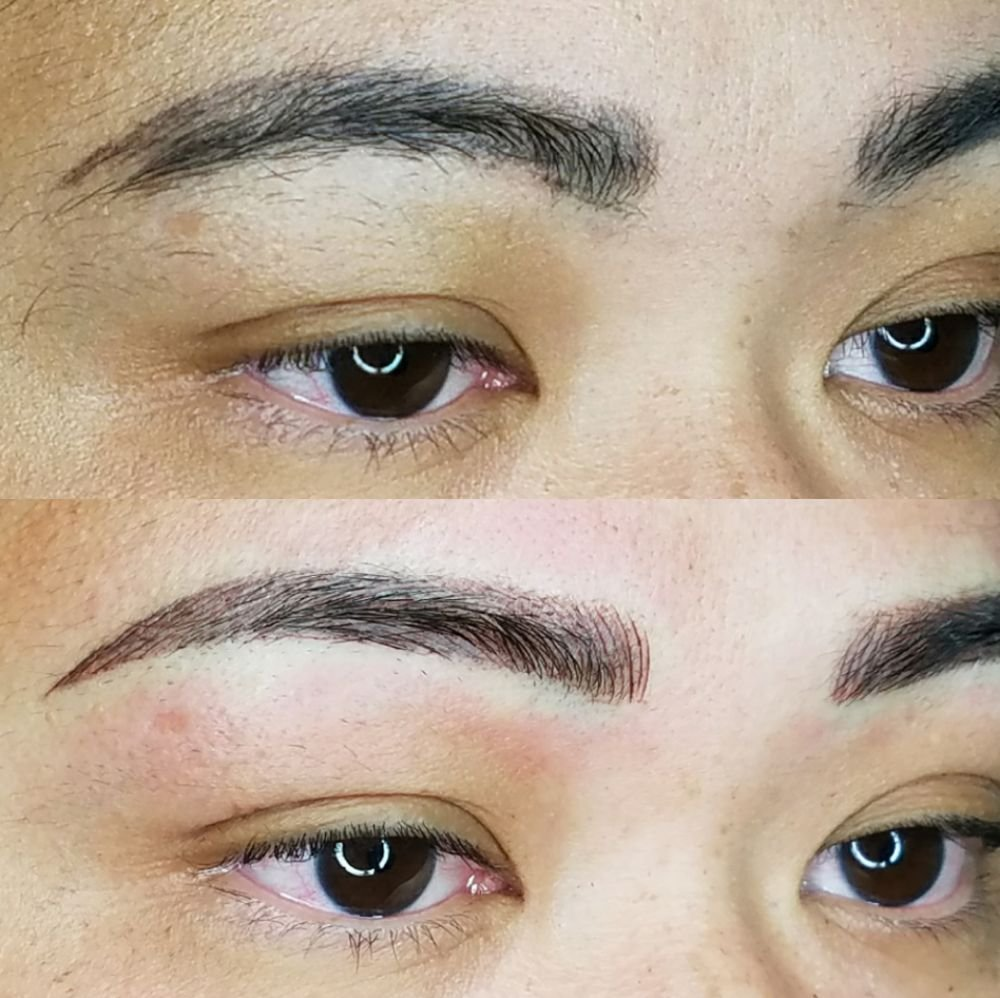Softened up old dark tattoo to more natural looking brows
