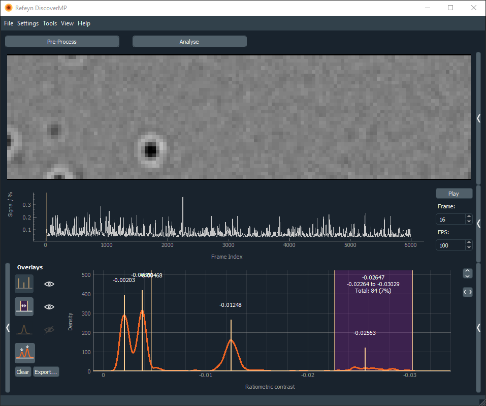 screenshot of refeyn software, mass photometry
