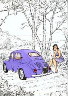 Cécile et la 4CV 1954 Sérigraphie  (JP Gibrat)