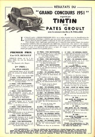 Le journal de Tintin N° 165 Concours Pâtes Groult