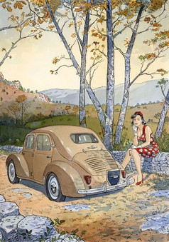 Cécile et la 4CV 1954 Originale  (JP Gibrat)