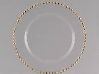 Glass Beaded Charger (gold)