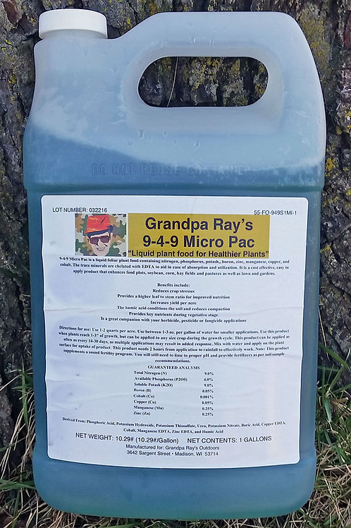 9-4-9 Micro Pac Plant Foods 1 Gallon Bottle