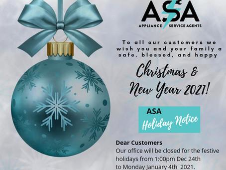 ASA Holiday Notice