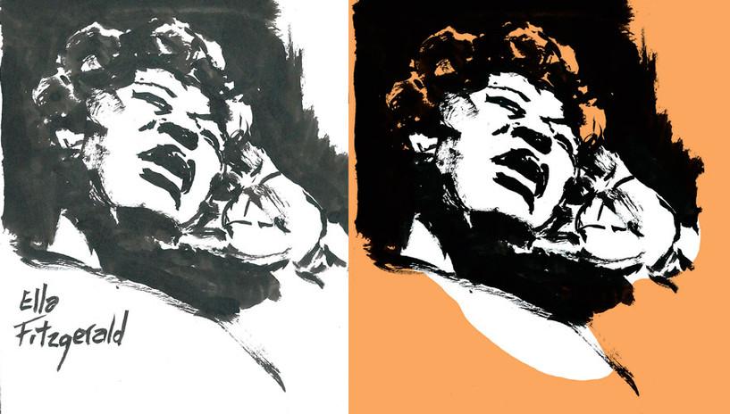 Ella Fitzgerald | Sketch a tinta digitalizado