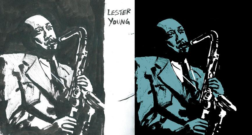 Lester Young | Sketch a tinta digitalizado