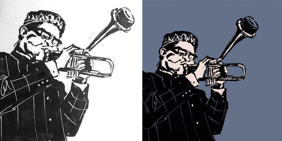 Dizzy Gillespie | Sketch a tinta digitalizado