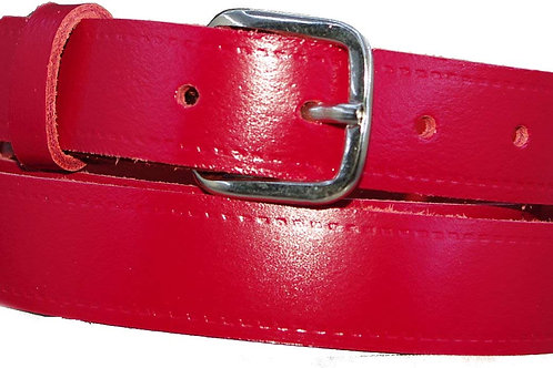 25mm 1 Inch Red Real Leather Belt
