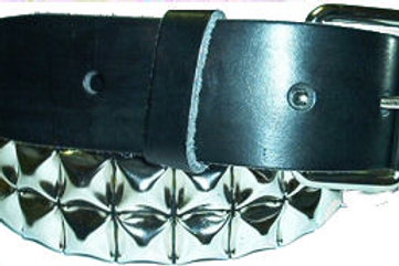 BLACK 2 ROW PYRAMID STUDDED BELT LEATHER xxl
