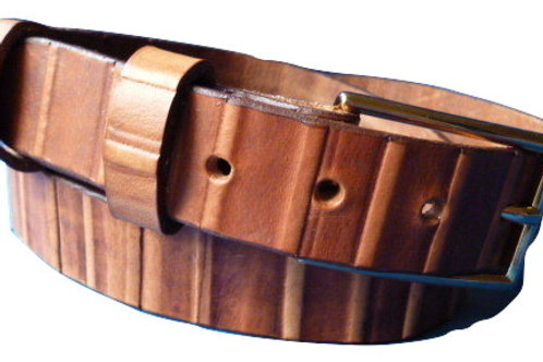 Tan Bamboo Pattern Hand Made Real Leather Belt