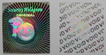 1920MMS2 - 19mm x 20mm RECTANGULAR SILVER HOLOGRAM LABEL