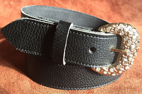 Nuggets And Diamonds 38mm Black Real Leather Belt