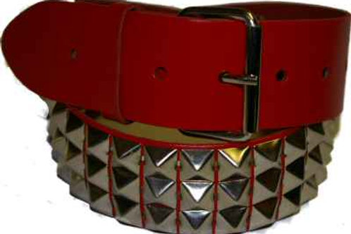 3 Row Red Pyramid 2 inch wide Belt
