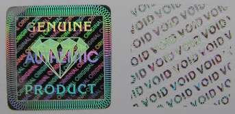 19MMS1 - 19MM SQUARE SILVER HOLOGRAM LABEL