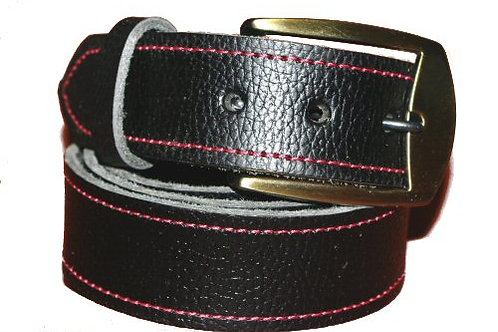 Black Leather Belt Red Stiched 38mm Wide
