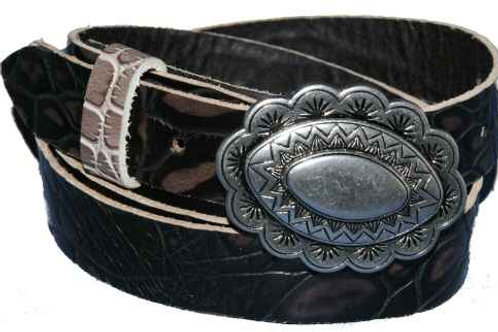 Ladies Two Tone Crock Leather Belt 1Inch 25mm