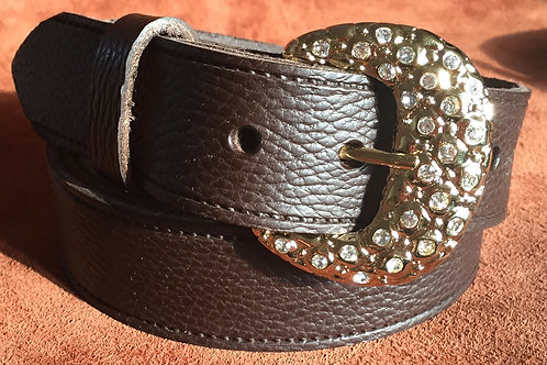 Nuggets And Diamonds 38mm Brown Real Leather Belt