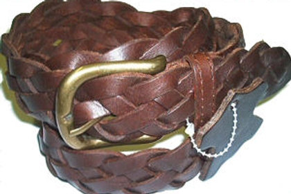 1.25 Inch 32mm Brown Braided Belt Leather
