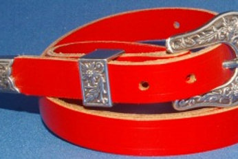 20mm Antique Silver Western Belt Red