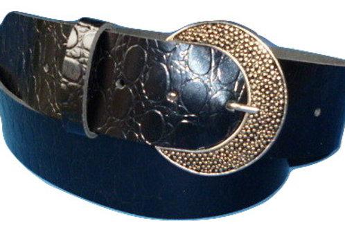 Petrol Black Ostrich Print Hand Made Leather Belt 48mm
