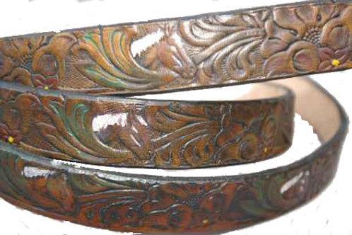 Horse & Flower Pattern Dark Tan Belt 1 Inch