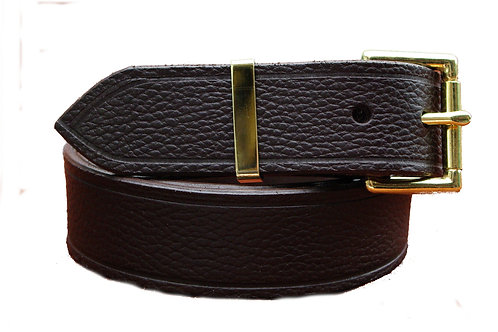 38mm Brown Real Leather Belt Solid Brass Buckle and Keeper