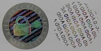 20MMDK - 20MM DIAMETER SILVER HOLOGRAM LABEL