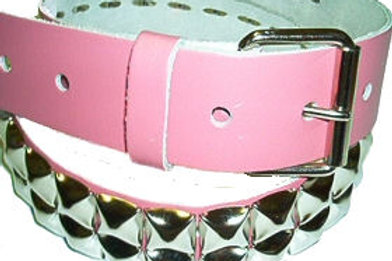 2 ROW PYRAMID STUDDED BELT PINK LEATHER