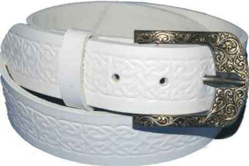 Celtic Pattern White Belt with Celtic Buckle