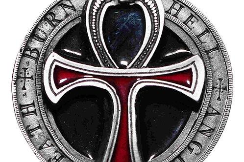 Pagan Death Burn Hell angel Cross Buckle tan23
