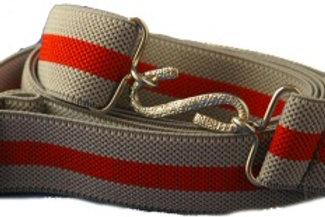 Adult Elasticated Belt Grey Red