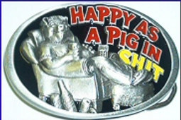 HAPPY AS A PIG BUCKLE DD164