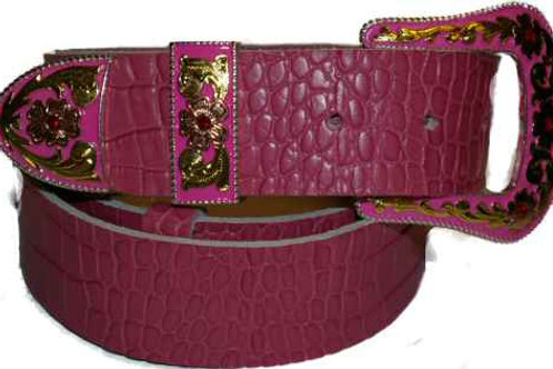 Crock Grain Print Belt Pink with western pink buckle