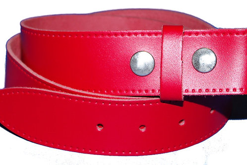 Red Press Studded Belt for Buckles
