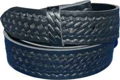 Black Basketweave Pattern Full Grain Leather Belt Strip