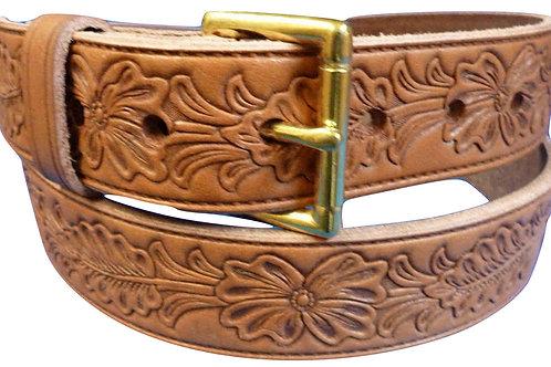 Tan Brown Bridle Leather Belt Leaf Pattern