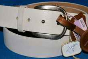 White Real Leather Belt By Monsoon