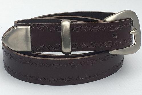 Dark Brown Western Rope Edge Hand Made Belt