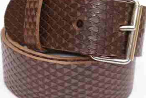Snakeskin Pattern Belt Brown 1.5 Inch 38mm