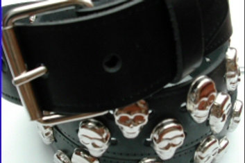 1.50 INCH BELT BLACK SKULLS STUDDED BELT
