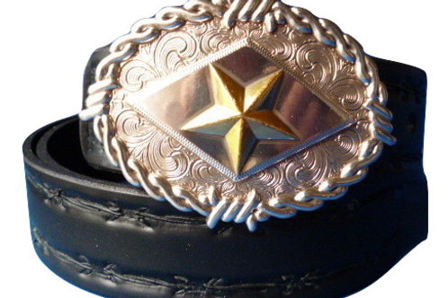 Barbed Wire Hand Made Belt and Texas Star Buckle Black