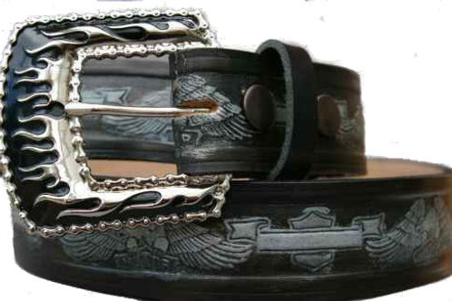 Motorbike Pattern Black Silver Belt