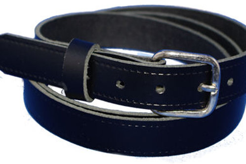 25mm 1 Inch Black Real Leather Belt Black