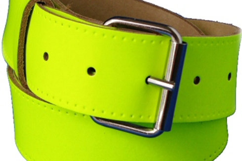 Plain Yellow Hi Viz Leather Belt 1.5 Inch 38mm