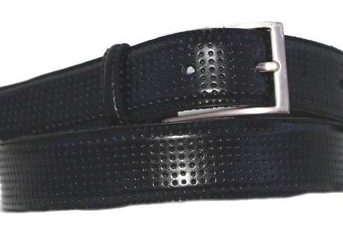 25mm 1 Inch Black trouser Belt with Perforated Leather